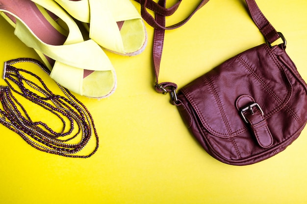 Set of woman's things accessories to summer season