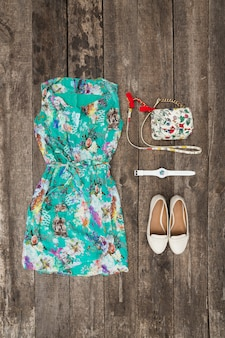 Set of woman summer clothes,  top view,