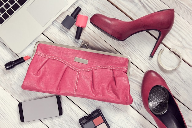 Set of women's accessories and gadgets