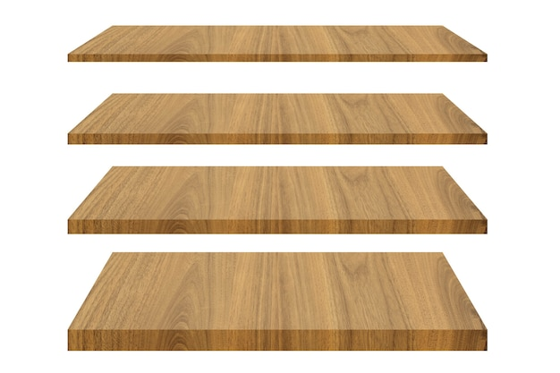 Set of wood shelves isolated on white isolated with clipping path