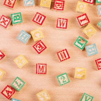 Set of wooden bright cubes on floor