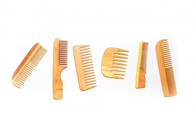 Set of wooden comb on white