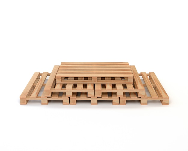 A set of wooden pallets for transportation and storage of cargo / goods isolated on white background. 3d illustration.