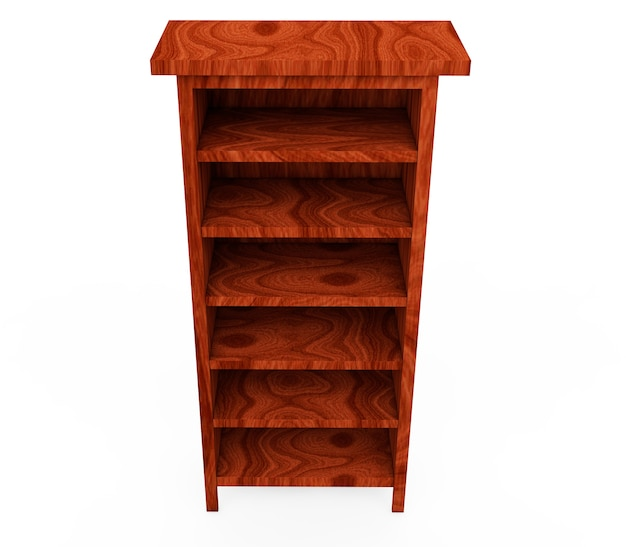 Set wooden shelf isolated on background 3d rendering
