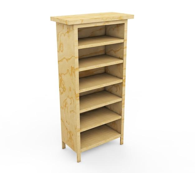 背景の3dレンダリングで分離された木製の棚を設定します
