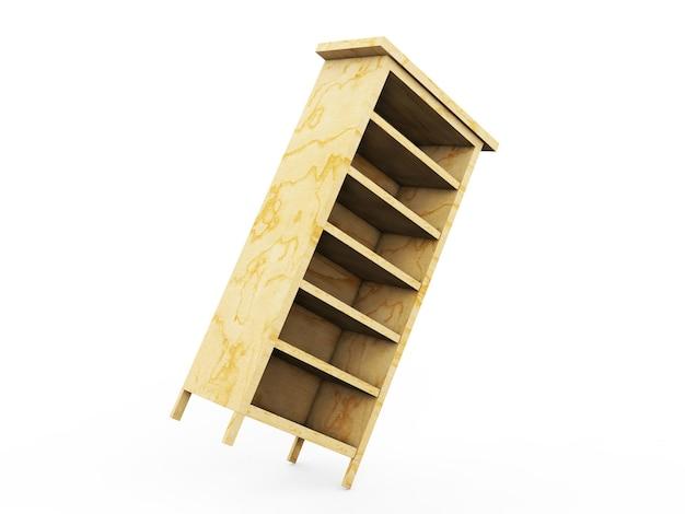 背景に分離された木製の棚を設定します。 3dレンダリング