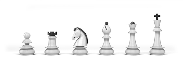 Set of wooden white chess pieces isolated on white background
