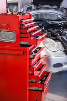 Set of work tools in toolbox