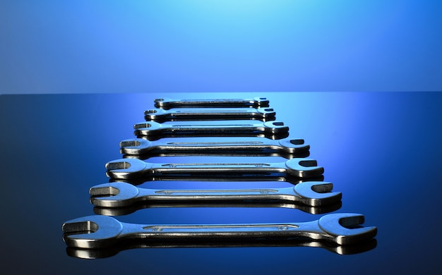 Set of wrenches mirror surface.
