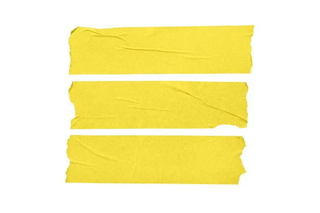 Set of yellow blank tape stickers isolated on white background.