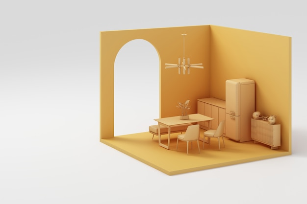 Set of  yellow furniture and isometric wall 3d rendering