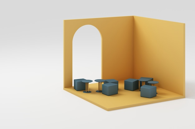 Set of  yellow furniture mock up and isometric wall 3d rendering