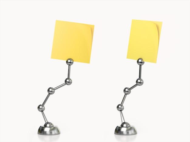 Set of yellow post it holder. 3d rendering