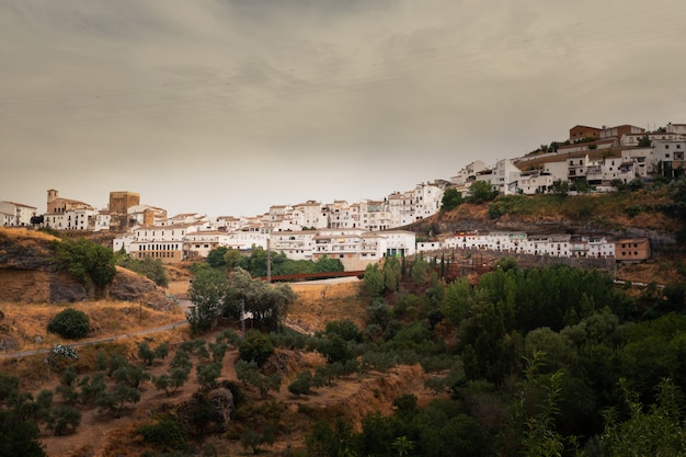 Setenil de las bodegas one of the famous white towns from cadiz region at andalucia, spain.