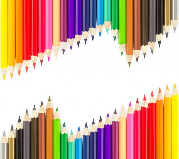 Sets of colored pencils in rows