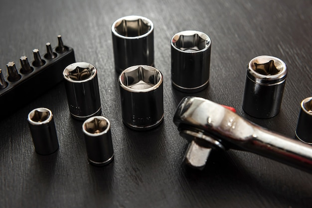 Sets of universal torx socket isolated on balck background. industrial equipment