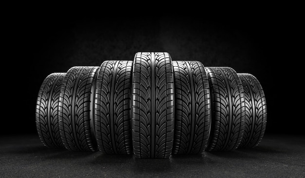 Seven car wheels on black background. 3d rendering