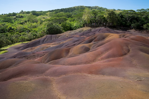 The seven colored earth is a volcanic geological phenomenon resulting in seven colour