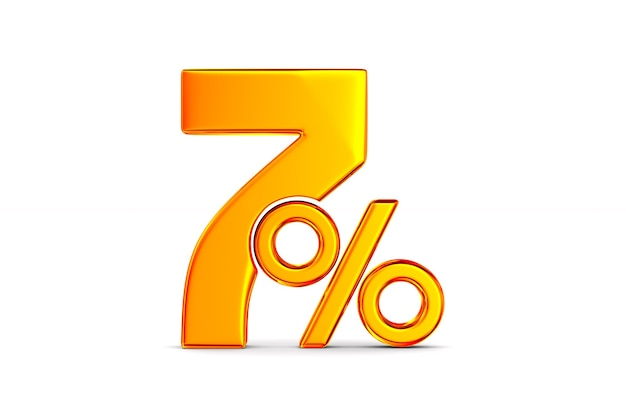 Семь процентов на пустом месте. изолированные 3d иллюстрации