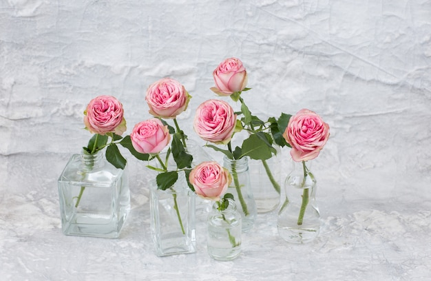 Семь розовых роз в вазах разного размера