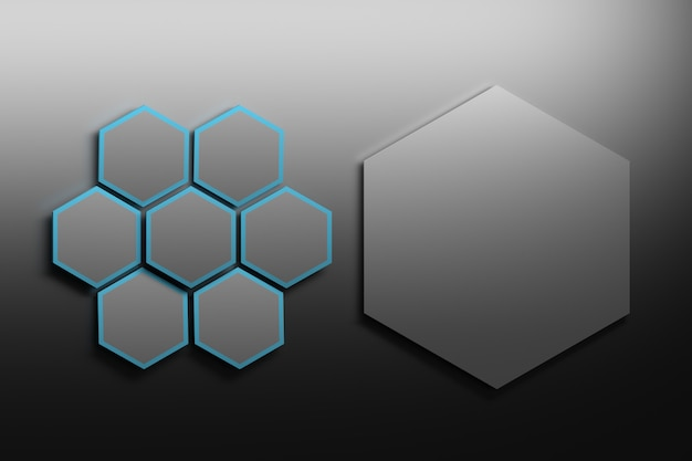 Seven small black hexagons with a big one on the right