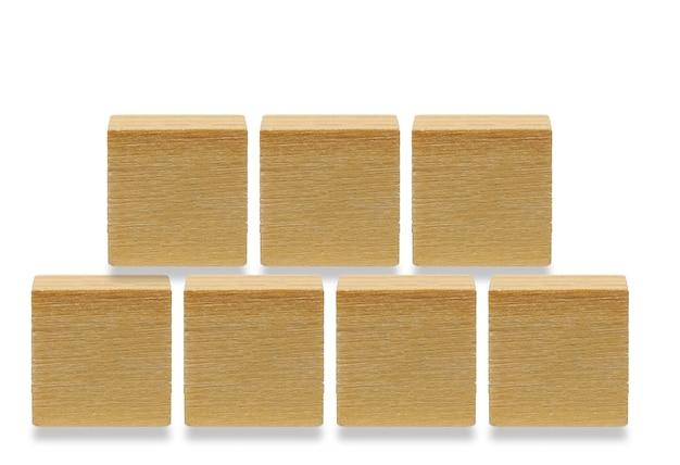 7 나무 큐브, 흰색 배경에 고립 된 나무 기하학적 모양 큐브
