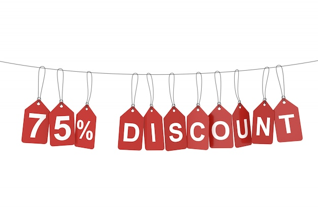 Seventy five percent discount tag. 3d rendering.