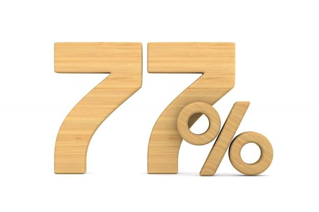 Семьдесят семь процентов на белом фоне.