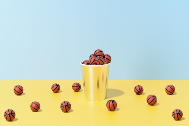 Several basketballs in a glass and on the floor on a blue and yellow background. sport and competition.3d illustration