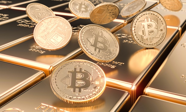 Several bitcoin motes on gold bars, cryptocurrency and virtual finance concept.