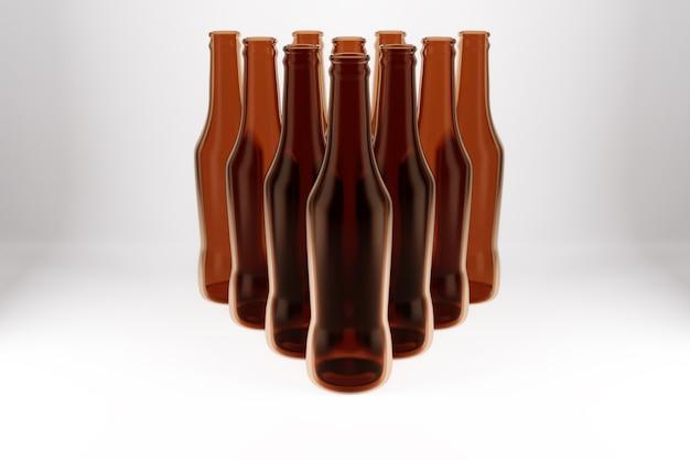 여러 갈색 유리 맥주 병은 격리 된 흰색 배경에 피라미드 모양으로 서