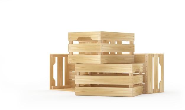 여러 개의 빈 나무 상자. 3d