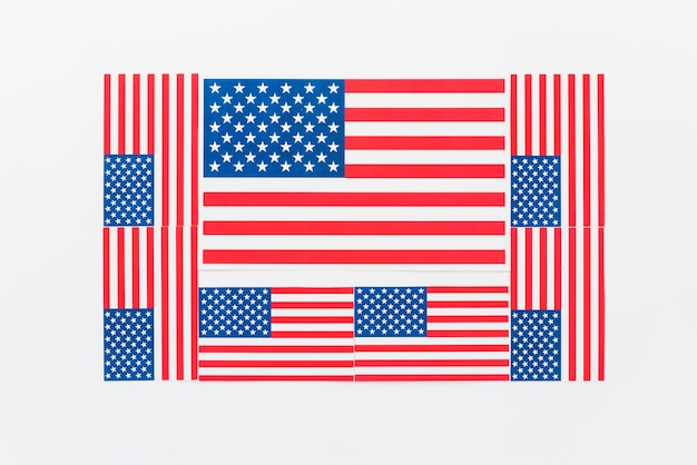 Several flags of united states