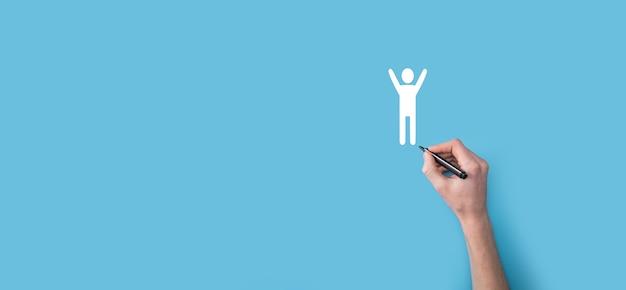 여러, 네 손으로 마커가있는 남자 사람 인간 아이콘을 그립니다. hr human, people icontechnology process system business with recruitment, hiring, team building.