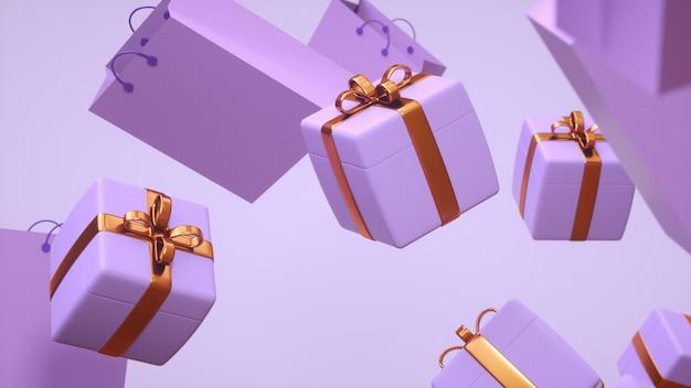 Несколько подарков парят в воздухе в фиолетовых тонах с золотыми конфетами, а рядом с ними лежат подарочные пакеты.