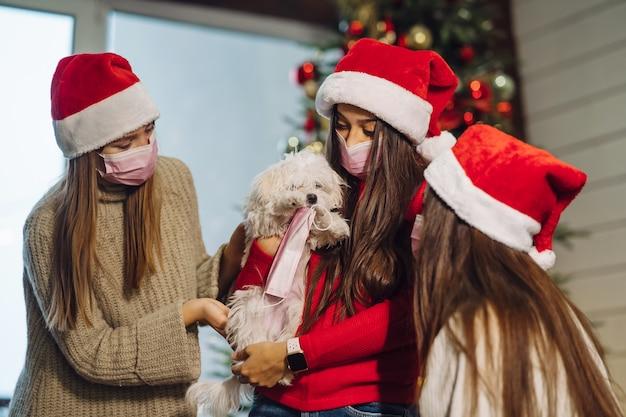 Несколько девочек играют с маленькой собачкой в канун нового года дома