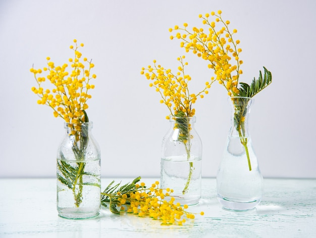 Several glass bottles with yellow mimosa flowers stand on a wet glass background.