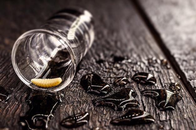 メスカル(またはメスカル)が入ったグラスは、オアハカ州出身のエキゾチックなメキシコの飲み物である「幼虫のテキーラ」として一般に知られています。