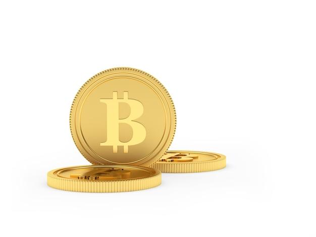 Several gold bitcoin coins