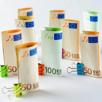 Several hundred euro banknotes euro banknotes random stacked euro currency money