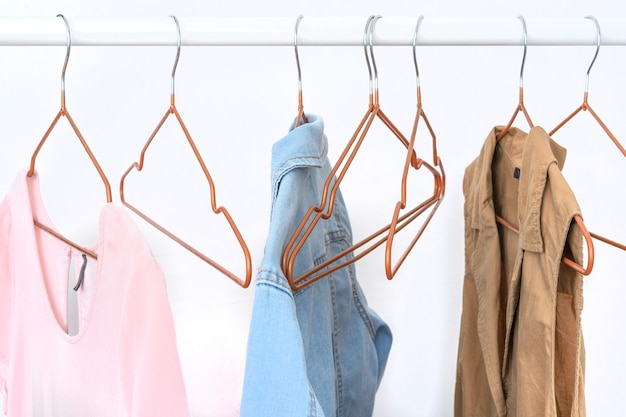 Several items of women's clothing on the open hanger