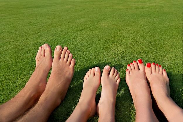 草の上に横たわって休んでいるいくつかの足