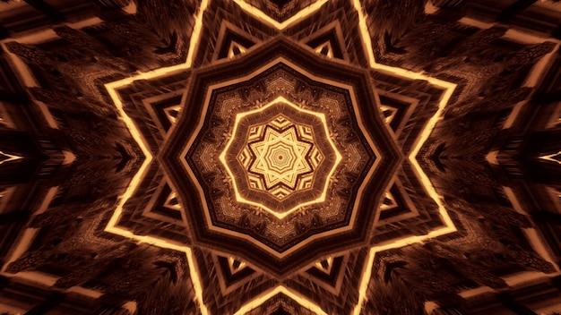 검정색 배경 뒤에 원형 패턴을 형성하는 여러 조명