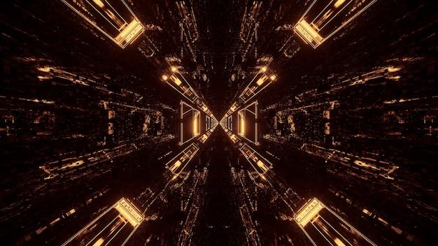 삼각형 패턴을 형성하고 뒤로 흐르는 여러 개의 빛
