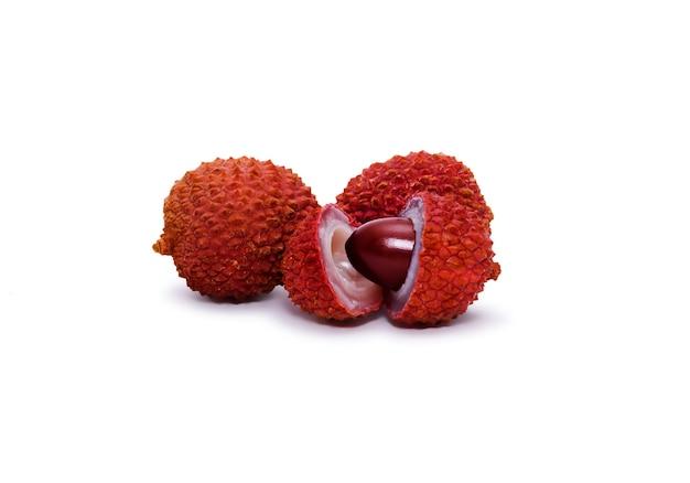 흰색 배경에 고립 된 여러 열매 과일