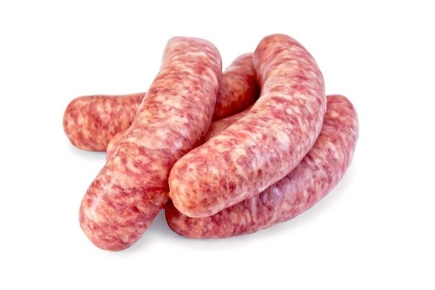 Несколько свиных колбас изолированы