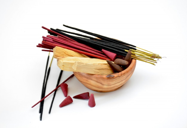 Several types of incense on a bowl