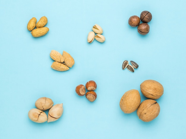 Several types of nuts arranged in groups on a blue surface
