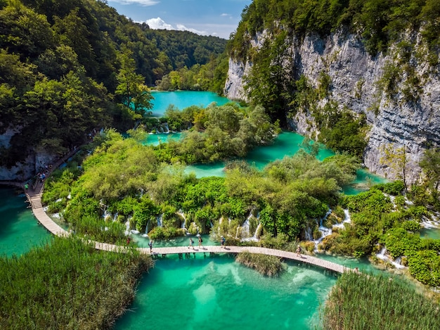Several waterfalls of one of the most astonishing plitvice lakes