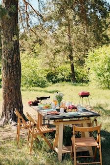 Несколько деревянных стульев вокруг стола с домашней едой и напитками для ужина на открытом воздухе под сосной в солнечный летний день